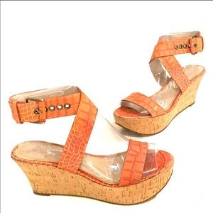 VIA SPIGA Orange Cork Wedge Sandals Size 7
